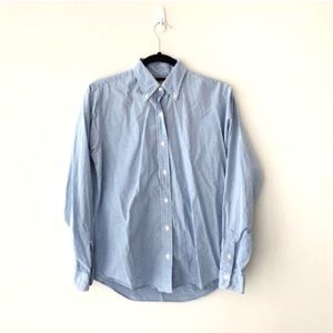 Brooks Brothers Checked Button Down Top Blue White